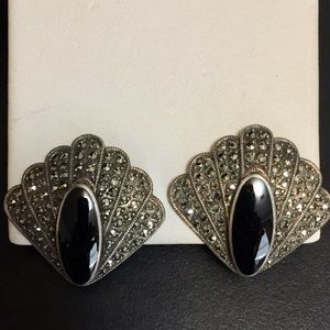 Vintage Sterling Marcasite Black Onyx Earrings
